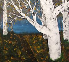 Silver Birch Trees Autumn Nature Painting by Adri Turner