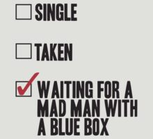 DOCTOR WHO WAITING FOR A MAN MAN WITH A BLUE BOX by yellowdogtees