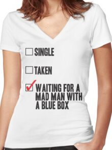 DOCTOR WHO WAITING FOR A MAN MAN WITH A BLUE BOX Women's Fitted V-Neck T-Shirt