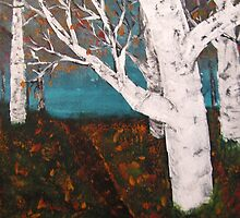 Silver Birch Trees Autumn Nature Painting Enhanced by Adri Turner