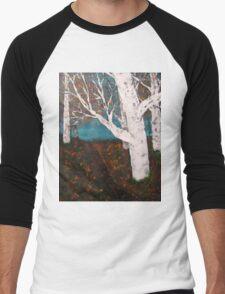 Silver Birch Trees Autumn Nature Painting Enhanced Men's Baseball ¾ T-Shirt