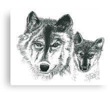 Wolves - Pen & Ink Canvas Print