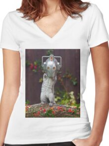 Cyber Squirrel! Be FURRY afraid Doctor Who Women's Fitted V-Neck T-Shirt