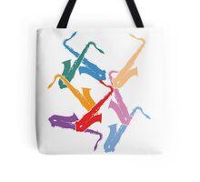 Colorful Saxophones Tote Bag