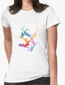 Colorful Saxophones Womens Fitted T-Shirt