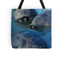 Galapagos Tortoises in Pond Tote Bag