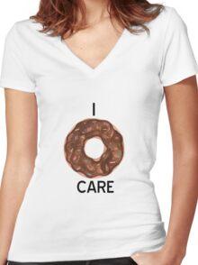 I Donut Care Women's Fitted V-Neck T-Shirt