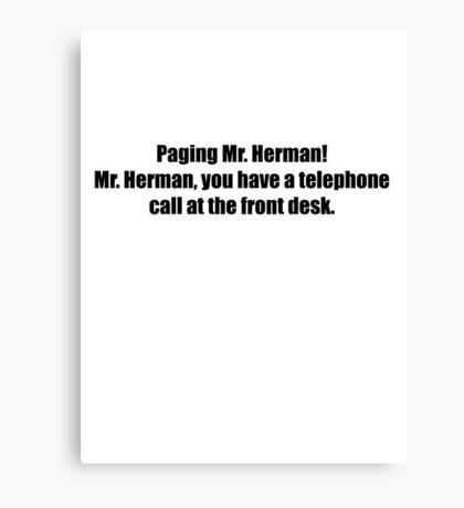 Pee-Wee Herman - Paging Mr Herman - Black Font Canvas Print