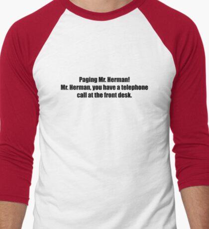 Pee-Wee Herman - Paging Mr Herman - Black Font Men's Baseball ¾ T-Shirt