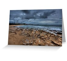 Rocks, Sand, Sea and Clouds-0002HDR Greeting Card