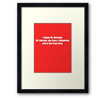 Pee-Wee Herman - Paging Mr Herman - White Font Framed Print