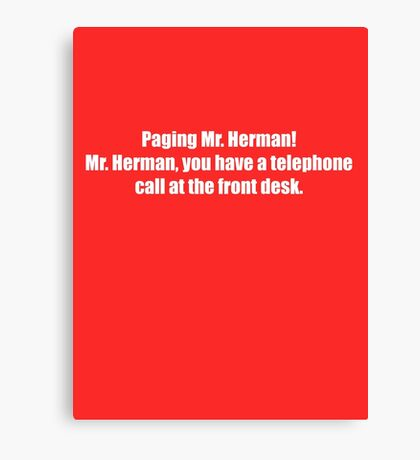 Pee-Wee Herman - Paging Mr Herman - White Font Canvas Print