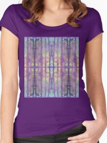 aqua and violet dripping stripes Women's Fitted Scoop T-Shirt