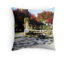 White Fence, Road Throw Pillow
