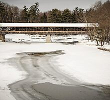 Covered Bridge across the icy Saco River by TonyCrehan