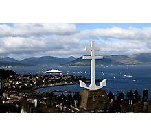 QE2 under the Cross - Hilltop Viewpoint Photographic Print