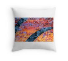 Glass-bottomed boat on the caldera Throw Pillow