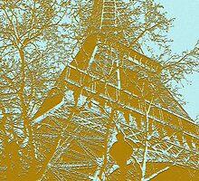 Eiffel Tower in Blue by Ronee van Deemter