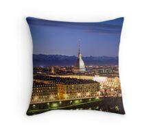 Turin (Torino), panorama with Mole Antonelliana Throw Pillow