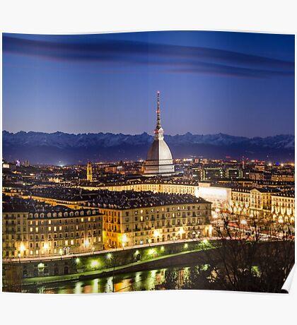 Turin (Torino), panorama with Mole Antonelliana Poster