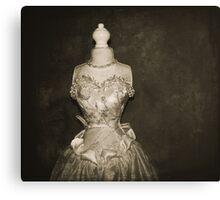her wedding gown Canvas Print