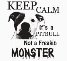 keep calm its a pitbull not a freakin monster Kids Tee