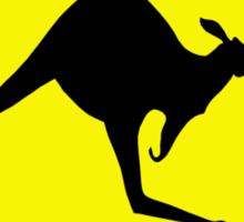 Kangaroo Crossing Sign Sticker