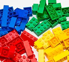 4 colors lego bricks blue green yellow red by benbdprod
