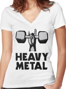 Heavy Metal Lifting Women's Fitted V-Neck T-Shirt