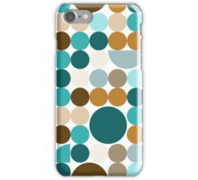 Blue-brown circles pattern iPhone Case/Skin