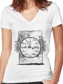 Time Written in Stone Women's Fitted V-Neck T-Shirt