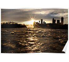 December Evening-Niagara Falls Poster