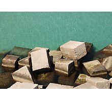 Concrete Blocks by Sea  Photographic Print