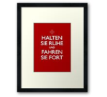 KEEP CALM IN GERMAN Framed Print