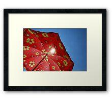 Beach Umbrella Against Blue Sky  Framed Print