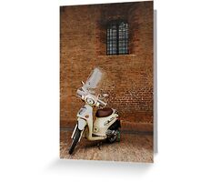 White Scooter Against Brick Wall  Greeting Card