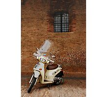 White Scooter Against Brick Wall  Photographic Print