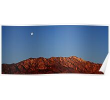 San Jacinto Mountains Sunrise with Moon Setting in the West Poster