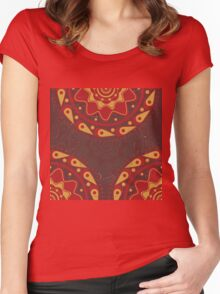 Red and yellow ornament 2 Women's Fitted Scoop T-Shirt