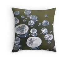 mysterious ice bubbles Throw Pillow