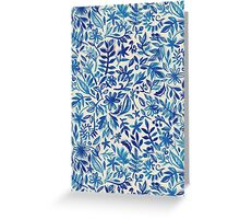 Floating Garden - a watercolor pattern in blue Greeting Card