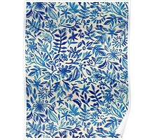 Floating Garden - a watercolor pattern in blue Poster