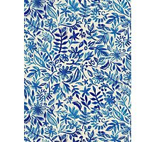 Floating Garden - a watercolor pattern in blue Photographic Print