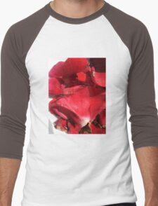 Red rose petals 2 Men's Baseball ¾ T-Shirt