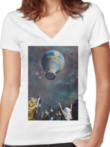 UP.UP.AND AWAY. Women's Fitted V-Neck T-Shirt