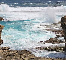 Rocks And Breaking Waves - West Point Rottnest Island WA by Colin  Williams Photography