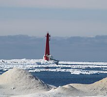 Muskegon's Winter Lighthouse by BarbL