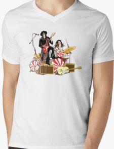 White Stripes Duo Mens V-Neck T-Shirt