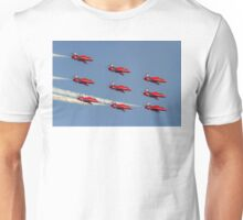 Red Arrows Hawks in Diamond Nine and 2014 Livery Unisex T-Shirt
