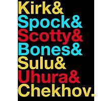 STAR TREK ORIGINAL  Mr. Spock Captain Kirk Uhura Sulu Mr. Chekhov Dr. Bones McCoy  Photographic Print